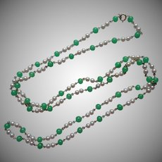 1960s Faux Jade Colored Glass Faux Pearls Long Necklace