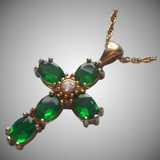 Avon Cross Bright Green Glass Stones Necklace Vintage