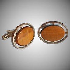Cufflinks Tiger Eye Vintage Handsome Open Oval Frames