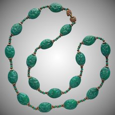 1960s Big Faux Jade Beads Long Necklace Plastic Molded