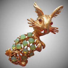Bunny Pin Rabbit Opalescent Green Stones Vintage