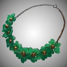 1930s Plastic Brass Necklace Vintage Green Flowers TLC