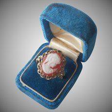 1960s Cameo Ring Resin Vintage Adjustable Victorian Revival Germany