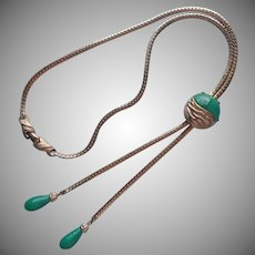 ca 1970 Slide Necklace Green Glass Vintage Gold Tone