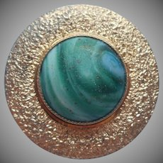 Victorian Green Slag Glass Collar Button Antique