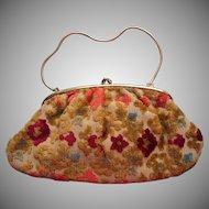 Vintage Italian Cut Velvet Velour Purse Handbag Converts To Clutch