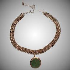 1960s Gold Filled Necklace Vintage Jade Green Pendant Choker Adjusts