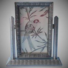 Art Deco Swing Frame Vintage Tilt Easel Small Silver Wooden