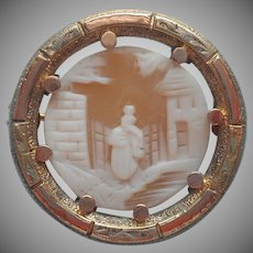 Tri Color Gold Filled Antique Cameo Pin Rebecca At The Well