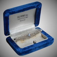 10K White Gold Filigree Pin Blue Topaz Antique Early Art Deco