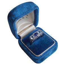 14K White Yellow Gold Ring Sapphire Aquamarine Art Deco Vintage