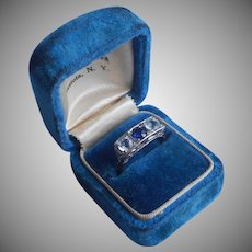 14K White Yellow Gold Ring Sapphire Aquamarine Art Deco Vintage