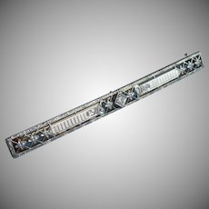 14K Edwardian Filigree Bar Pin Antique Krementz Diamond