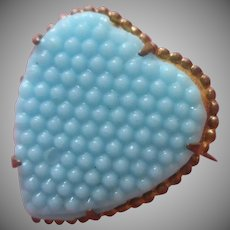 Antique Heart Pin Sky Blue Glass Small And Sweet