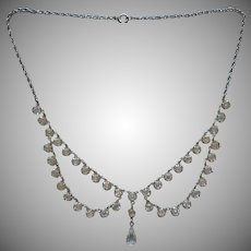 Crystal Festoon Necklace Vintage Edwardian Revival Silver Tone