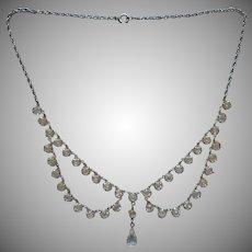 Crystal Festoon Necklace Vintage Edwardian Revival Silver Tone