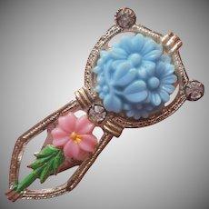 1930s Dress Clip Pastel Pink Blue Vintage Plastic Flowers