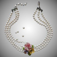 Bone China Milk Glass Beads Vintage 1950s Necklace TLC