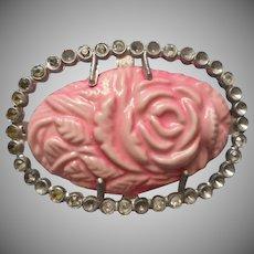 1920s Celluloid Pink Rose Pin Vintage Rhinestone Pot Metal Frame