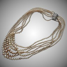 1940s Sterling Silver 7 Strand Clasp Vintage Glass Pearl Beads Necklace TLC