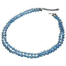 Blue AB Crystal Beads Petite 6 mm 2 Strand Necklace Vintage TLC