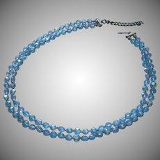 Blue AB Crystal Beads Petite 6 mm 2 Strand Necklace Vintage TLC