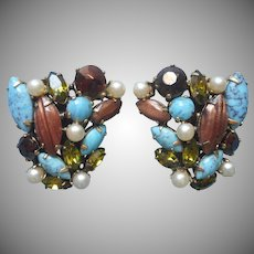 Schreiner Earrings Vintage Faux Turquoise Pearl Glass Brown Goldstone Olive Green