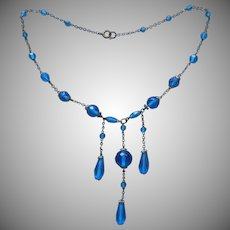 ca 1920 Celeste Blue Glass Necklace Antique Dangle