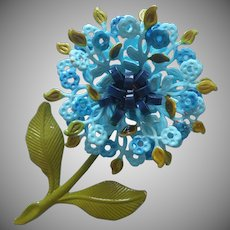 Vintage Flower Pin Metal Lacy Painted Turquoise Navy Blue Green
