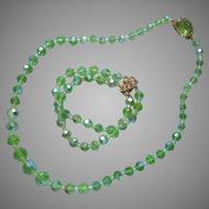 Light Bright Green Crystal AB Beads Vintage Necklace Bracelet Set
