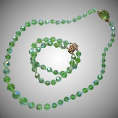 Light Bright Green Crystal AB Beads Vintage Necklace Bracelet Set
