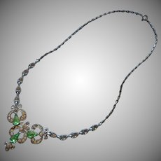 Light Green Rhinestones Necklace Vintage Bogoff TLC