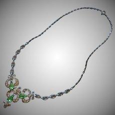 Light Green Rhinestones Necklace Vintage Bogoff TLC