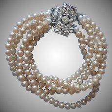 Vintage Bracelet Faux Pearls 5 Strand Rhinestone Clasp TLC