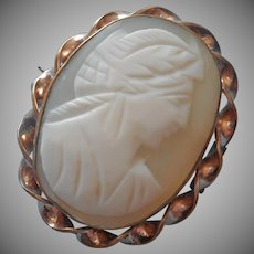 Antique Cameo Carved Shell Ribbon Twist Frame Gold Plated