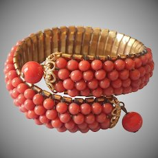 ca 1940 Coral Colored Glass Beads Wrap Bracelet Vintage