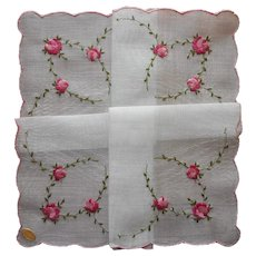 Vintage Hankie Handkerchief Pink Roses Embroidery Swiss Unused Label