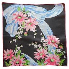 Vintage Hankie Printed Linen Handkerchief Pink Blue Black Print