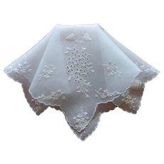 Vintage Hankie Pale Blue Handkerchief Unused Label Wedding Something Blue