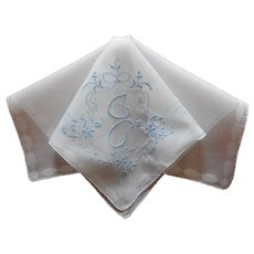 Monogram J Vintage Hankie Handkerchied Unused Blue On White