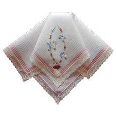 Vintage Hankie Swiss Hand Embroidered Lace Unused Label Handkerchief
