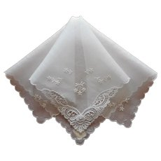 Vintage Hankie Unused Fine White Lace Trim Embroidery Label Handkerchief