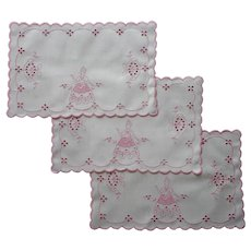 Vintage Vanity Doilies Pink Embroidery White Cotton Ladies