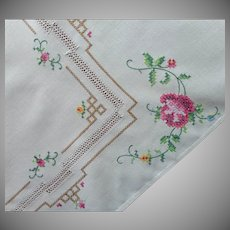 Tea Tablecloth Vintage Hand Embroidered Tiny Cross Stitching