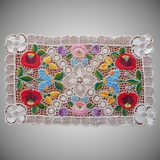 Kalocsa Hungarian Tray Cloth Vintage Lace Hand Embroidery Doily