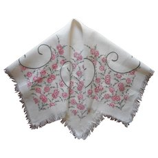 Tea Tablecloth Vintage Hand Embroidered Linen Pink Gray