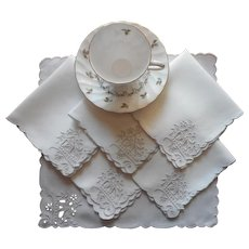 Tea Napkins Cutwork Embroidery Linen Vintage Art Deco Set 6