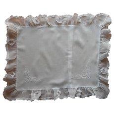 Antique Boudoir Pillow Sham Batiste Embroidery Cutwork Lace Hand Sewn