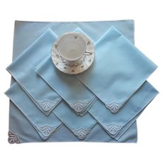 Sky Blue Vintage Luncheon Napkins Lace 1950s Set 7