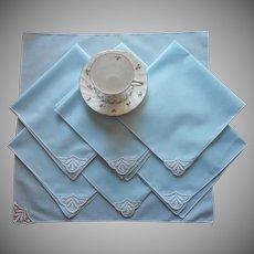 Sky Blue Vintage Luncheon Napkins Lace 1950s Set 7